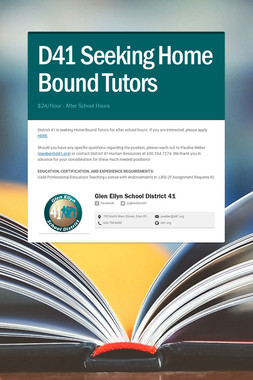 D41 Seeking Home Bound Tutors
