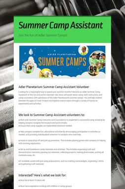Summer Camp Assistant