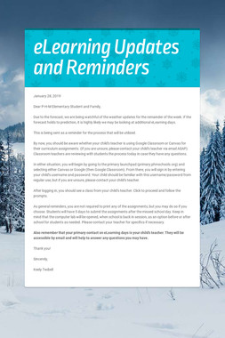 eLearning Updates and Reminders