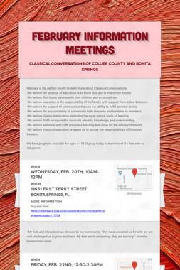February Information Meetings