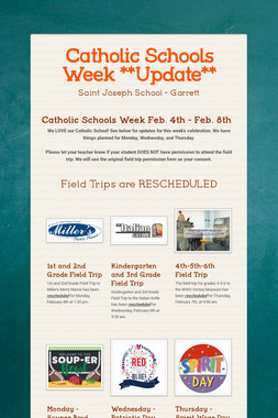 Catholic Schools Week **Update**