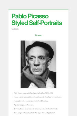 Pablo Picasso Styled Self-Portraits