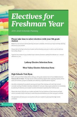 Electives for Freshman Year