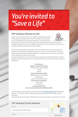 "You're invited to    ""Save a Life"""