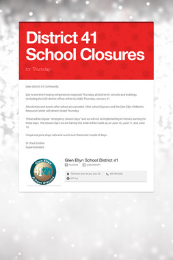 District 41 School Closures