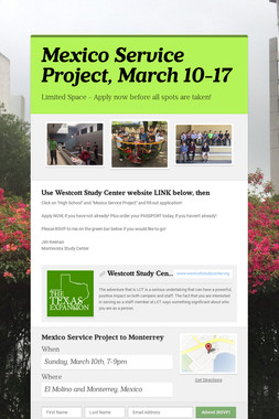 Mexico Service Project, March 10-17