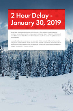 2 Hour Delay - January 30, 2019