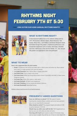 Rhythms Night February 7th at 5:30