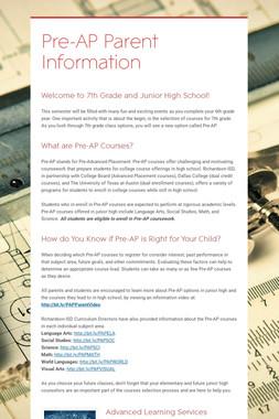 Pre-AP Parent Information