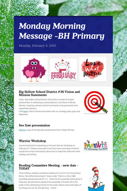 Monday Morning Message -BH Primary