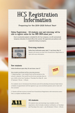 HCS Registration Information