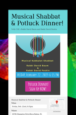 Musical Shabbat & Potluck Dinner!