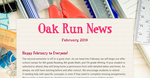 Oak Run News Smore Newsletters For Education