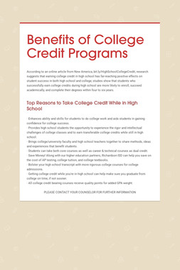 Benefits of College Credit Programs