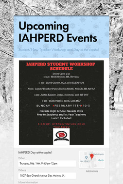 Upcoming IAHPERD Events