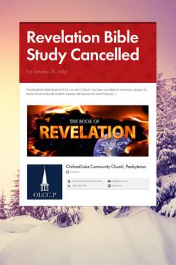 Revelation Bible Study Cancelled