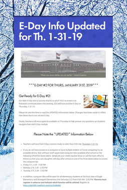 E-Day Info Updated for Th. 1-31-19
