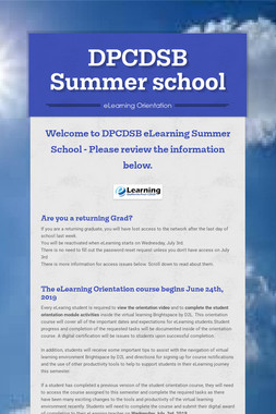 DPCDSB Summer school