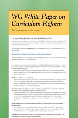 WG White Paper on Curriculum Reform