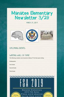 Manatee Elementary Newsletter  3/29