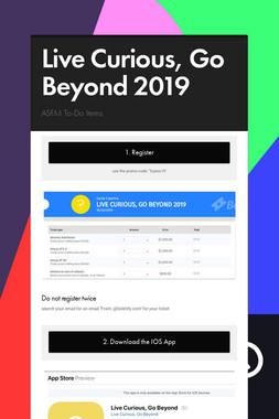 Live Curious, Go Beyond 2019