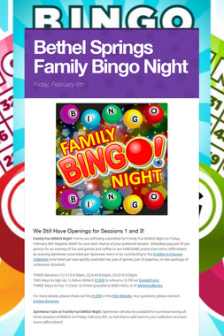 Bethel Springs Family Bingo Night