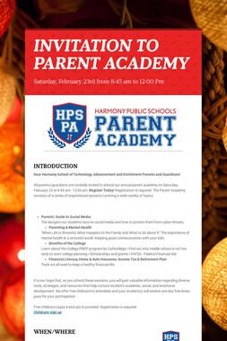 INVITATION TO PARENT ACADEMY