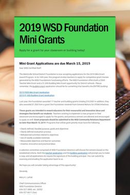 2019 WSD Foundation Mini Grants