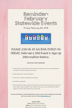 Reminder: February Statewide Events