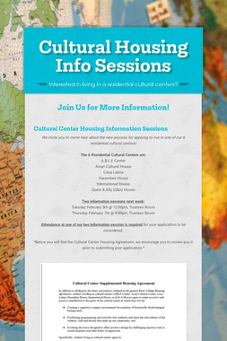 Cultural Housing Info Sessions