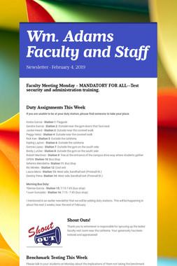 Wm. Adams Faculty and Staff