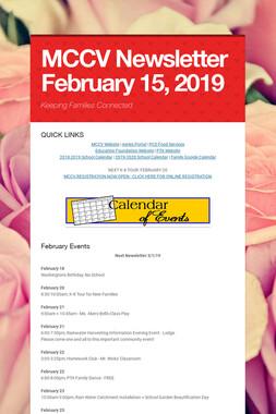 MCCV Newsletter February 15, 2019