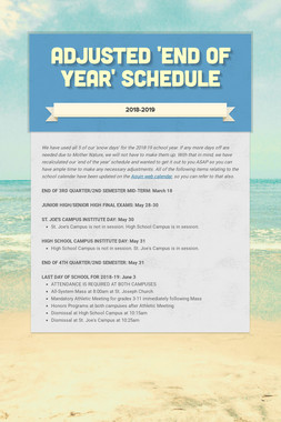 Adjusted 'End of Year' Schedule