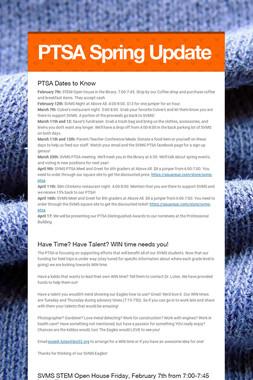 PTSA Spring Update