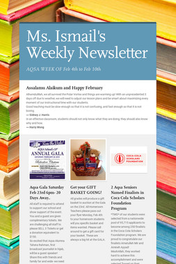 Ms. Ismail's Weekly Newsletter