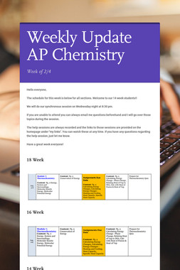 Weekly Update AP Chemistry