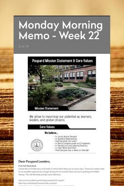 Monday Morning Memo - Week 22