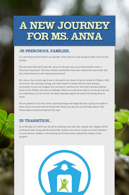 A New Journey For Ms. Anna