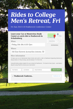 Rides to College Men's Retreat, Fri
