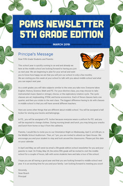 PGMS Newsletter 5th Grade Edition
