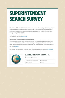 SUPERINTENDENT SEARCH SURVEY