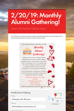 2/20/19: Monthly Alumni Gathering!