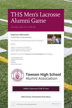 THS Men's Lacrosse Alumni Game