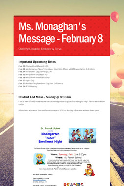 Ms. Monaghan's Message - February 8