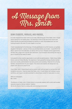 A Message from Mrs. Smith