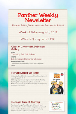 Panther Weekly Newsletter