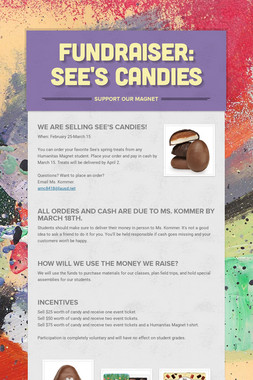 Fundraiser: See's Candies