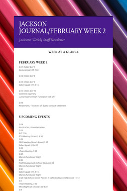 JACKSON JOURNAL/FEBRUARY WEEK 2