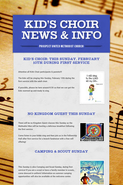KID'S CHOIR NEWS & INFO