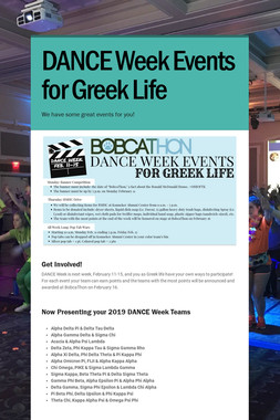 DANCE Week Events for Greek Life